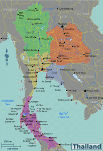 A map showing the five Thailand Regions as use by the Tourist Association of Thailand
